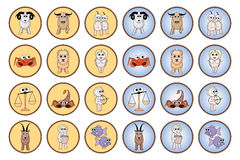 Zodiac web buttons. Zodiac signs useful for rollover button effects Stock Photo