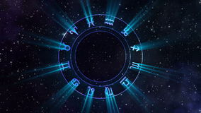 Zodiac wheel gyrating in the space. Animation of the zodiac wheel gyrating in the space stock illustration