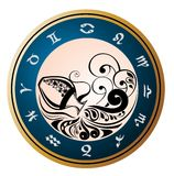 Zodiac Wheel with sign of Aquarius Stock Image