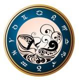Zodiac Wheel with sign of Aquarius Stock Image