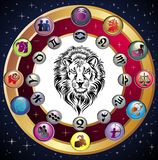 Zodiac Wheel with sign of Leo. Royalty Free Stock Photography