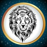 Zodiac Wheel with sign of Leo. Royalty Free Stock Photo