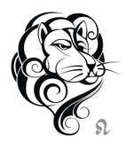 Zodiac Wheel with sign of Leo. Tattoo sign leo astrology horoscope wheel Stock Photography