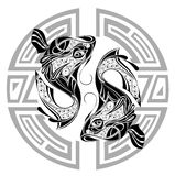 Zodiac wheel with sign of Pisces.Tattoo design Royalty Free Stock Photo