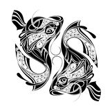 Zodiac Wheel with sign of Pisces.Tattoo design vector illustration