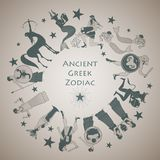 Zodiac wheel in the style of Ancient Greece. Zodiac signs inspired by Greek mythology Royalty Free Stock Images