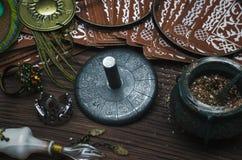 Zodiac wheel talisman. Horoscope amulet. Astrology. Zodiac talisman with zodiac symbols on a paranormal table. Horoscope wheel. Astrology stock photo