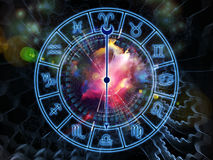 Zodiac world. Composition of Zodiac symbols, gears, lights and abstract design elements on the subject of astrology, child birth, fate, destiny, future, prophecy Royalty Free Stock Image