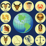 Zodiac and world. Zodiac in cartoon style Yellow circle on the floor around the world Stock Image