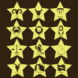 Zodiac in yellow star. Orange two-dimensional universe is in the yellow star on brown background Stock Photo