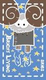 Zodiacal ευχετήρια κάρτα, aries στο διάστημα, διάνυσμα διανυσματική απεικόνιση