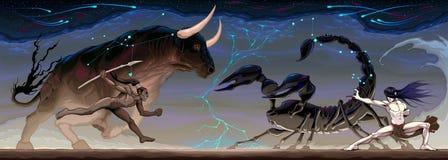 Zodiacal сражение между Тавром и Scorpio иллюстрация вектора