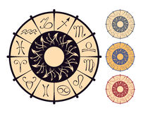 Zodiacal circle. Vector zodiacal circle with astrological symbols stock illustration
