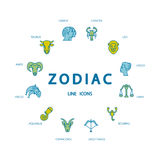 Zodiacal circle with astrology signs. Royalty Free Stock Image