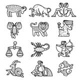 Zodiacal figures set. Set of black linear zodiacal signs with figures on white background. There is in addition a vector format (EPS 8 Royalty Free Stock Photo
