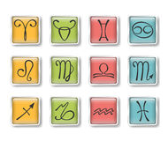 Zodiacal icons. Vector set of colorful zodiacal icons royalty free illustration