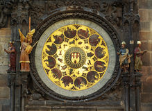Zodiacal klok in Praag stock afbeelding