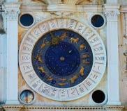 Zodiacal klok in St Mark& x27; s Vierkant, Venetië royalty-vrije stock fotografie