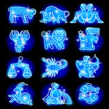 Zodiacal symbols set Royalty Free Stock Images