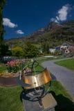 Zodiacal zonnewijzer bij park in Vitznau stock foto's