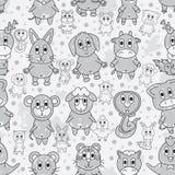 Zodiaco animal Grey Line Paint Seamless Pattern stock de ilustración
