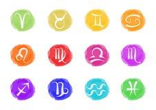 Zodiaco assina dentro cores vívidas Imagens de Stock Royalty Free