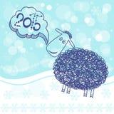 Zodiaco chino 2015 - año de las ovejas Tarjeta del Año Nuevo, i Foto de archivo libre de regalías