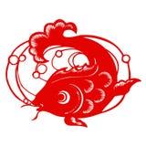 Zodiaco chino de pescados stock de ilustración