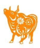 Zodiaco chino del año del buey stock de ilustración