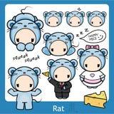 Zodiaco chino - rata stock de ilustración