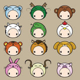 Zodiaco chino. Sistema del icono de 12 animales. ilustración del vector