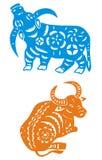 Zodiaco cinese dell'anno del bue Fotografia Stock