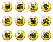 Zodiaco cinese di astrologia dei tasti - intero insieme Fotografia Stock
