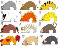 Zodiaco de doce animales ilustración del vector