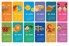 Zodiaco de la historieta - calendario 2016 Foto de archivo libre de regalías