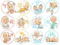 Zodiaco del bambino Sighns dell'oroscopo come bambini del fumetto Fotografie Stock