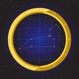 Zodiaco del horóscopo de la estrella de Leo en telescopio del ojo de pescados con el fondo del cosmos Imagenes de archivo