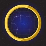 Zodiaco del horóscopo de la estrella del acuario en telescopio del ojo de pescados con el fondo del cosmos Foto de archivo libre de regalías