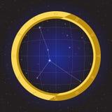 Zodiaco del horóscopo de la estrella del cáncer en telescopio del ojo de pescados con el fondo del cosmos Fotografía de archivo