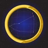 Zodiaco del horóscopo de la estrella del Capricornio en telescopio del ojo de pescados con el fondo del cosmos Fotos de archivo libres de regalías