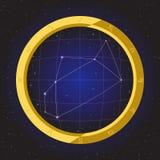 Zodiaco del horóscopo de la estrella del sagitario en telescopio del ojo de pescados con el fondo del cosmos Fotografía de archivo libre de regalías