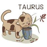 Zodiaco del tauro; carácter del gato estilizado como tauro; Ejemplo del vector EPS10 foto de archivo