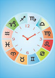 Zodiaco del vector con el reloj Foto de archivo libre de regalías