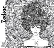Zodiaco: Illustrazione del segno dello zodiaco di pesci come bella ragazza illustrazione vettoriale
