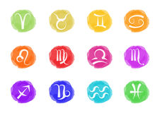 Zodiaco podpisuje wewnątrz żywych kolory Obrazy Royalty Free