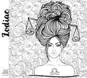 Zodiaco: Segno dello zodiaco della Bilancia come bella ragazza Arte di vettore con la p royalty illustrazione gratis