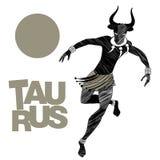 Zodiaco tribal Tauro Hombre con la cabeza del toro, los colmillos collar y las pulseras en sus tobillos stock de ilustración