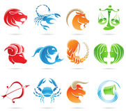 Zodiacs. Glowing zodiacs isolated on a white background Stock Photos