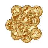 Zodiacs signs on a gold disks Royalty Free Stock Image