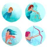 Zodiact: Maagd, Weegschaal, Schorpioen, Boogschutter Royalty-vrije Stock Afbeeldingen